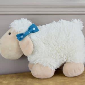 Barrette croco en coton imprimé étoiles blanches sur fond bleu