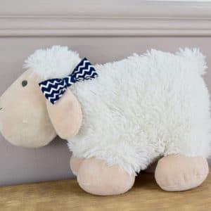 Barrette croco en coton imprimé lignes blanches et bleues