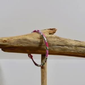 Bracelet Jonc en Liberty Poppy Forest Crimson Pink
