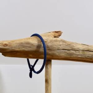 Bracelet Jonc en coton uni bleu foncé
