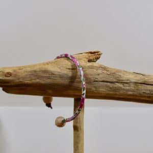 Bracelet jonc et perles en bois en Liberty Poppy Forest Crimson Pink