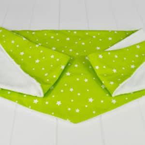 Chèche Hiver enfant en coton imprimé étoiles blanches sur fond vert vif, minky blanc