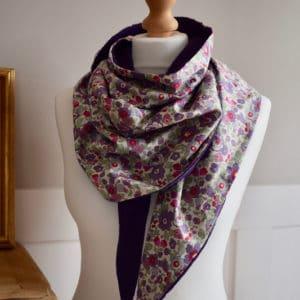 Chèche en Liberty Betsy Japonais Violet et double gaze violette