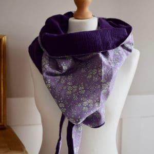Chèche en Liberty Capel Violet et double gaze violette