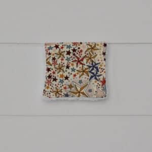 Lingette éponge blanche en Liberty Adelajda Terracota, petit modèle