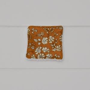 Lingette éponge blanche en Liberty Capel Moutarde G, petit modèle