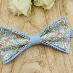 Noeud Papillon Double en Liberty Betsy Ann Baby Blue et coton bleu