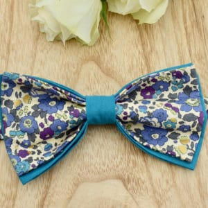 Noeud Papillon Double en Liberty Betsy Japonais Bleu et Or et coton turquoise