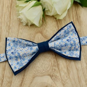 Noeud Papillon Double en Liberty Mitsi Valeria Baby Blue et coton bleu