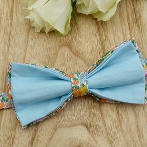 Noeud Papillon Double en Liberty Poppy and Daisy Japonais Acidulé et coton bleu