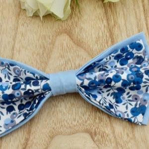 Noeud Papillon Double en Liberty Wiltshire Curaçao et coton bleu