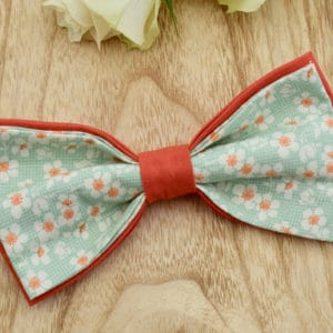 Noeud Papillon Double en Tilda Cherry Blossom Teal et coton orange