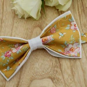 Noeud Papillon Double en Tilda Rosa Mollis Golden et coton blanc
