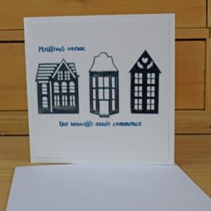 Carte de Voeux Maisons bleues