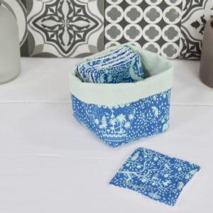 Panière et lingettes en Tilda Lemontree Blue et coton uni bleu
