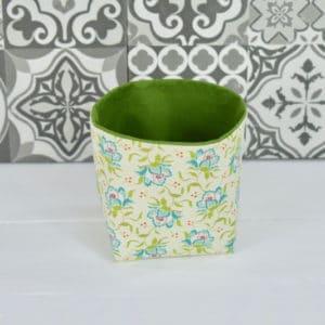 Petite panière en Tilda Clown Flower Green et coton uni vert