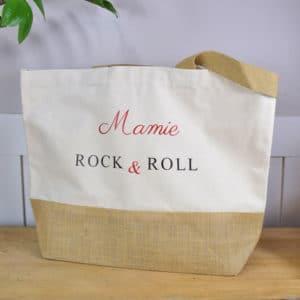 Sac cabas en coton et toile de jute Mamie Rock and Roll