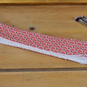 Bandeau en coton imprimé éventails rouges