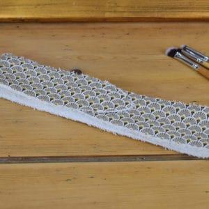 Bandeau en coton imprimé éventails taupes