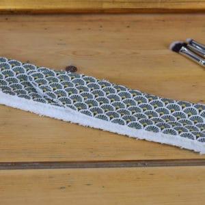 Bandeau en coton imprimé éventails verts