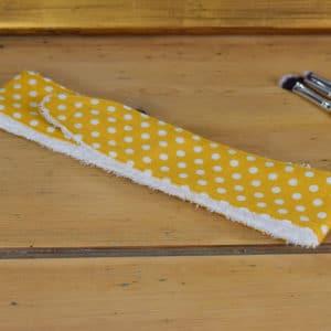 Bandeau en coton imprimé jaune à pois blancs