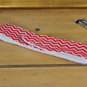 Bandeau en coton imprimé lignes rouges et blanches