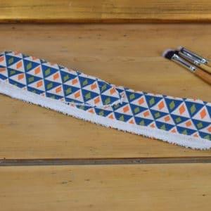 Bandeau en coton imprimé losanges bleus, oranges et verts