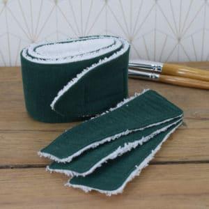 Coffret soin de la peau, un bandeau et 3 lingettes rectangulaires en éponge blanche et double gaze vert foncé