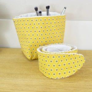 Duo panière et bandeau en coton imprimé Asanoha jaune