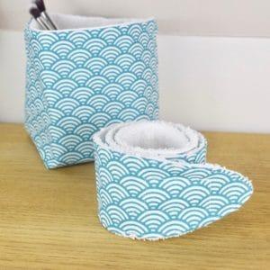 Duo panière et bandeau en coton imprimé Seigaha bleu