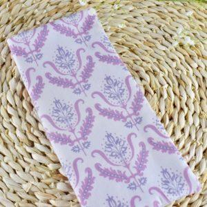 Etui livret de famille en Gutermann Ornement rose et Violet sur fond blanc, intérieur blanc