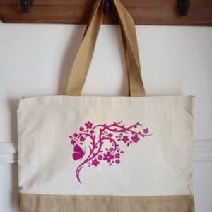 Sac cabas branche rose